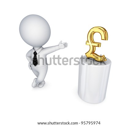 3d small person and pound sterling sign.Isolated on white background.