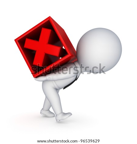 3d small person and red cross mark.Isolated on white background.3d rendered.