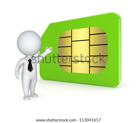 3d small person and sim card.Isolated on white background.3d rendered.