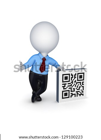 3d small person and symbol of QR code.Isolated on white background.