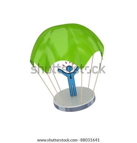3d small person at green parachute.Isolated on white background.