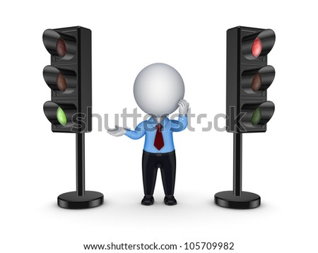 3d small person between traffic lights.Isolated on white background.