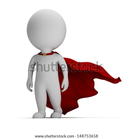 3d small person - brave superhero a cloak in the developing. 3d image. White background.