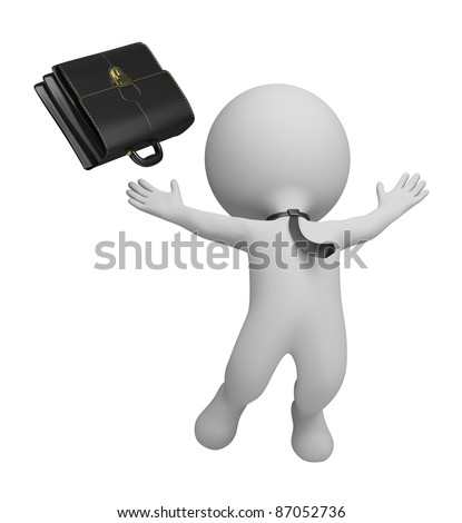 3d small person - businessman jumping with joy and threw his briefcase. 3d image. Isolated white background.