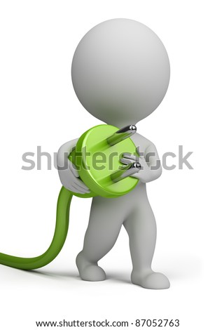 3d small person carrying in his hand an electric plug. 3d image. Isolated white background.