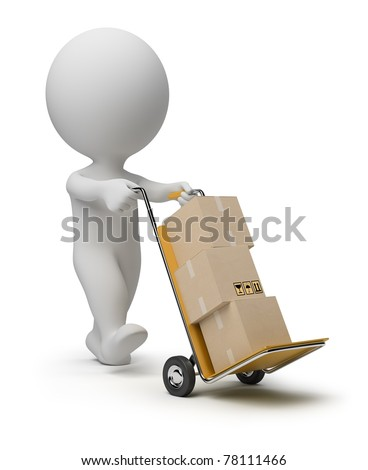 3d small person carrying the hand truck with boxes. 3d image. Isolated white background.