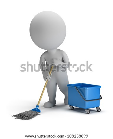 3D small person cleaner with a mop and bucket 3D image Isolated white background