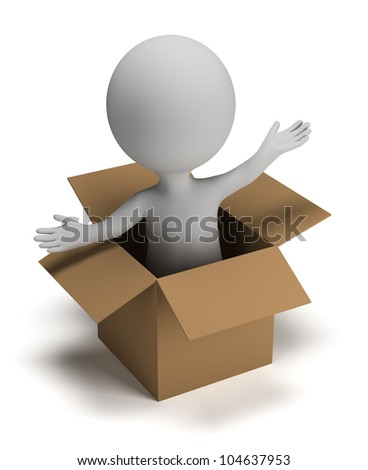 3d small person coming out of a box. 3d image. Isolated white background.