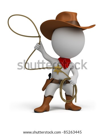 3d small person cowboy with lasso in hand, wearing a hat and boots. 3d image. Isolated white background.