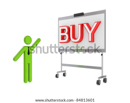 3d small person, flip chart and big word BUY.Isolated on white background.