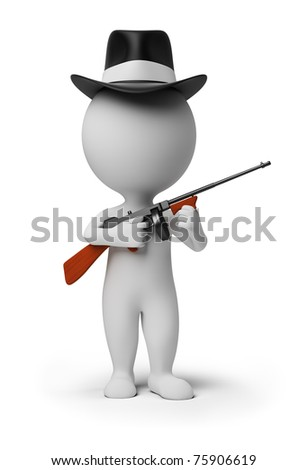 3d small person - gangster in a hat with tommy gun in hands. 3d image. Isolated white background.