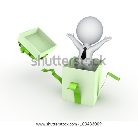 3d small person in a gift box.Isolated on white background.