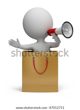 3d small person in a package with a megaphone in hand. 3d image. Isolated white background.