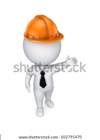 3d small person in an orange helmet.Isolated on white background.3d rendered.