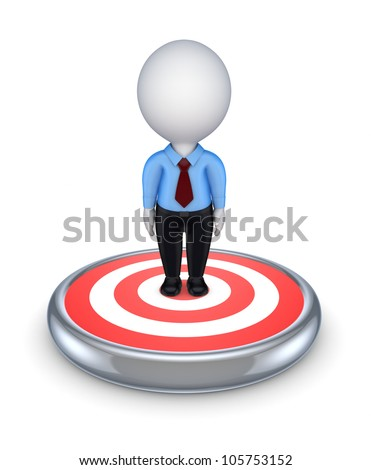 3d small person in the cener of dartboard.isolated on white background.