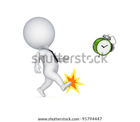 3d small person kicking a green watch.Isolated on white background.