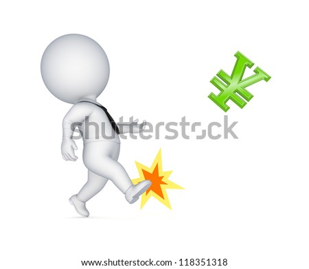 3d small person kicking golden sign of yen.Isolated on white background.