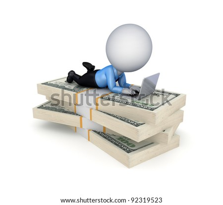3d small person lying on a dollar packs with a modern laptop. Isolated on white background.