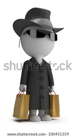 3d small person - mystery shopper in a black coat, sunglasses, hat, and with packages. 3d image. Isolated white background.