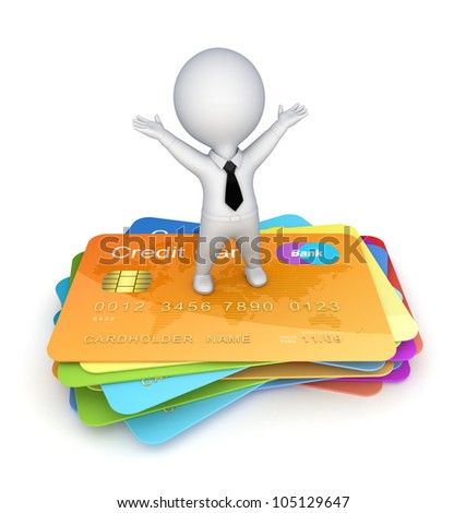 3d small person on a credit cards.Isolated on white background.