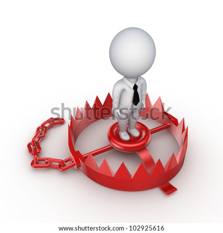 3d small person on a red trap.Isolated on white background.3d rendered.