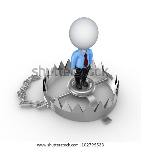 3d small person on iron trap.Isolated on white background.3d rendered.
