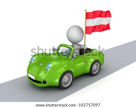 3d small person on orange car with Austrian flag.Isolated on white background.3d rendered.