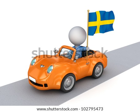 3d small person on orange car with Swedish flag.Isolated on white background.3d rendered.