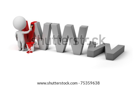3d small person painting letters www. 3d image. Isolated white background.