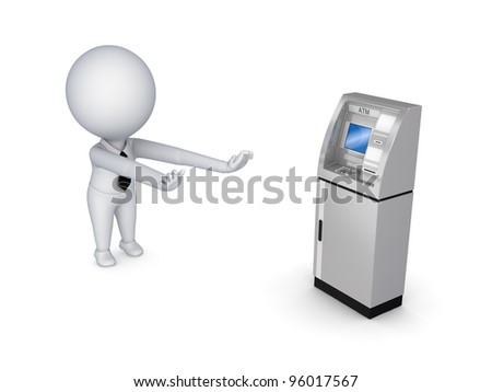 3d small person pulling hands to ATM.Isolated on white background.