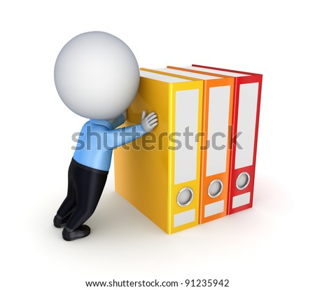 3d small person pushing a colorful folders.Isolated on white background.
