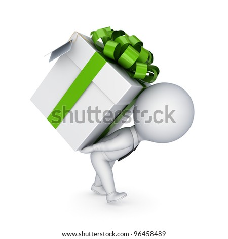 3d small person pushing a gift box.Isolated on white background. - stock photo