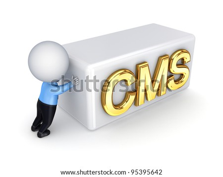 3d small person pushing a word CMS.Isolated on white background.