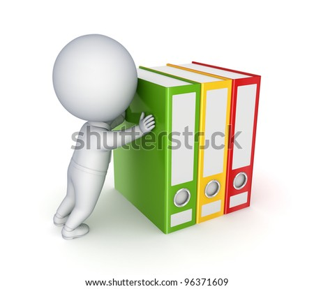 3d small person pushing colorful folders.Isolated on white background. - stock photo