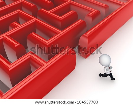 3d small person running from a labyrinth.Isolated on white background.