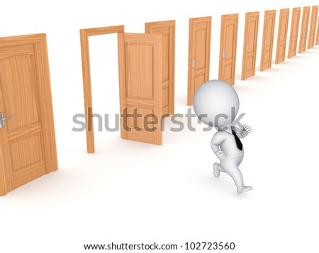 3d small person running through opened door.Isolated on white background.