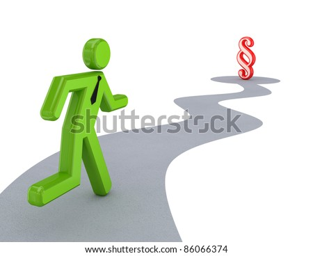 3d small person running to paragraph sign. Isolated on white background.