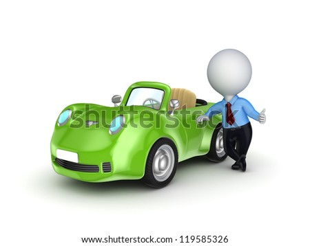 3d small person selling the car.Isolated on white background.