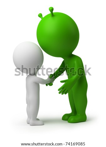 3d small person shaking hands the alien. 3d image. Isolated white background.