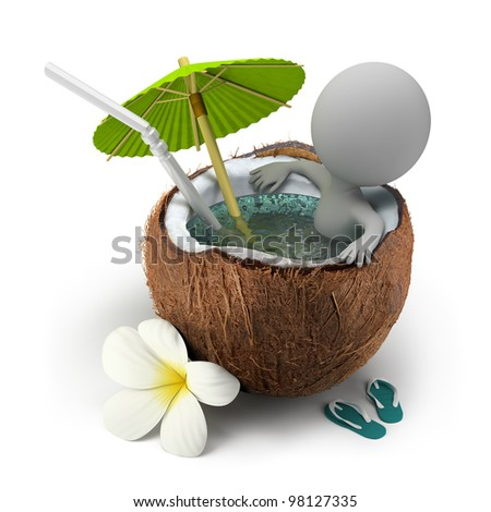 3d small person sitting in a coconut bath under an umbrella. 3d image. Isolated white background.