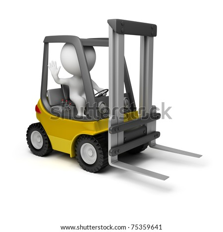 3d small person sitting in a forklift. 3d image. Isolated white background.