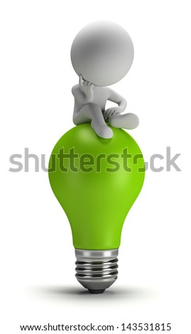 3D small person sitting on a green light bulb in a thoughtful pose 3D image White background