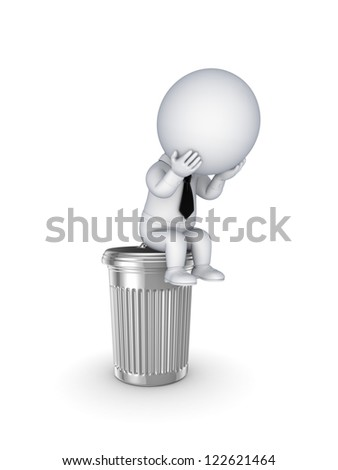 3d small person sitting on a trashcan.Isolated on white background.