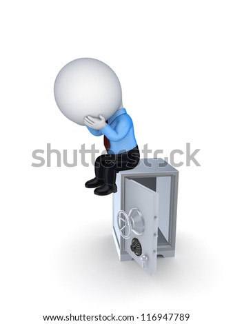 3d small person sitting on opened safe.Isolated on white background.