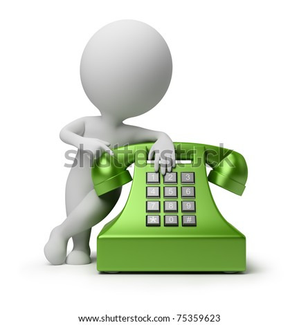 3d small person specifying in green phone. 3d image. Isolated white background.