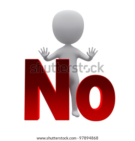 3d small person standing near to an no icon. 3d image. Isolated on a white background.