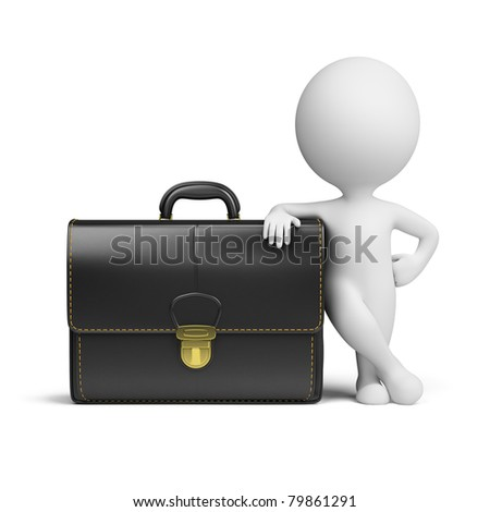 3d small person standing near to the big portfolio. 3d image. Isolated white background.