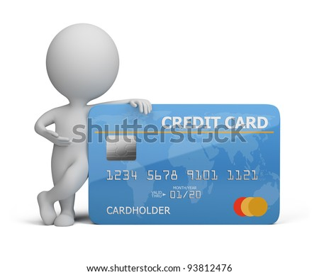 3d small person standing next to a credit card. 3d image. Isolated white background. - stock photo