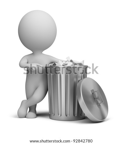 3d small person standing next to a trash can. 3d image. Isolated white background.
