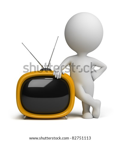 3d small person standing next to a yellow retro TV. 3d image. Isolated white background.